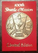 100th Space Shuttle Mission Collectorand039s Bronze Medal Coin Token Nasa Challenger