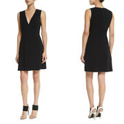 Nwt A.l.c. Jacobson Sleeveless V Neck Barbell Stretch Crepe Black Dress 10 465