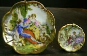 Antique 2 Hand Painted French Limoges 18th Century Couples Miniature Plates Ex
