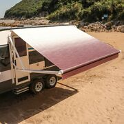 Aleko 8and039x8and039 Retractable Motorized Rv/patio Awning White To Burgundy Fade Color