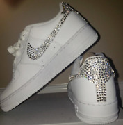 Crystals Custom Authentic Air Force 1 Mid Or Low Sneakers. 4 Styles
