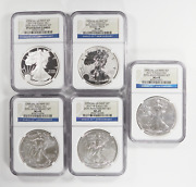 2011 Silver American Eagle 25th Anniversary 5 Coin Set Ngc Ms69, Proof Pf69 1