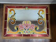 Large Art Glass Mirror 37 X 27 Hand Crafted Western Bar Floral Design