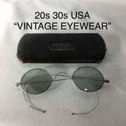 30s Vintage Antique Round Eyeglass Frame Metal Usa Made With Case Free Shipping