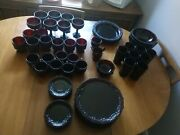67 Piece Set Of Avon Ruby Red Dishes Plates Glasses Sugar Creamer Bowls Saucers