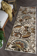 Ivory Transitional Machine Made Leaves Scroll Nature Area Rug Abstract 1011