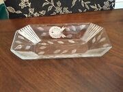 Vintage Clear Crystal Floral Cut Serving Dish/celery Dish/ Console Bowl