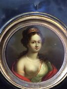 Victorian Miniature Painting O/board Of Diana