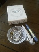 Oneida Crystal Southern Garden Chamberstick With Candle - New In Package