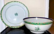 Large Chinese Export Porcelain Bowl And Matching Plate, Mid 19th Century