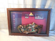Evandale Dogs Playing Poker Resin 3-d Picture, Plaque 13 X 19.5