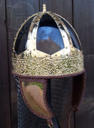 Medieval Knight Spangenhelm Helmet Viking Helmet With Chainmail And Cheek Plates