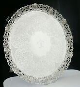 Scottish Antique Sterling Silver Salver Pierced Border, Marshall And Sons 1843