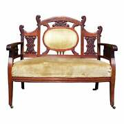 Antique Carved Walnut Victorian Settee Loveseat Entry Bench