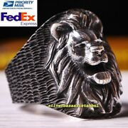Handmade 925 Sterling Silver King Lion Figure No Stone Animal Mens Ring