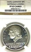 Germany Weimar Republic 1929 G 5 Mark Lessing Thaler Ngc Pf 63 Cameo Pp