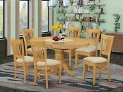 7pc Avon Dinette Oval Pedestal Dining Table W/ 6 Upholstered Chairs In Light Oak
