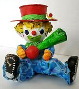Vintage Paper Mache Clown Sitting With Horn And Hat Halloween Circus Carnival