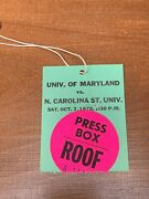 1978 Nc State Wolfpack V Maryland Terrapins Football Ticket Press Box Pass 10/7