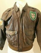 Vtg A-2 Wings International 40 Brown Leather Pilots Flying Patches Jacket