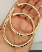 14k Yellow Gold 4.9 Mm Hoop Earrings Snap Closure 2.75 Inches Extra Large Hoops
