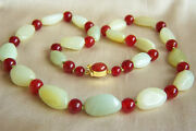Fabulous Chinese Vintage Hetian Pebble Nephrite Jade And Carnelian Necklace 23