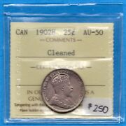Canada 1902 H 25 Cents Twenty Five Cent Silver Coin - Iccs Au-50 Cleaned