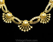 Antique Style Seashell And Pearl Necklace - Victorian Revival 1950s 1960s Mermaid
