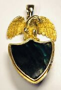 Antique 19th Century 14k Yellow Gold Eagle On Agate Shield Fob 1.25