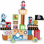 Small Toy Playset, 29pcs Pirate Ship Wooden Building Blocks Kids Toys Playsets