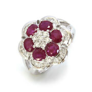 3.65 Ctw Natural Red Ruby And Diamond Solid 14k White Gold Flower Statement Ring