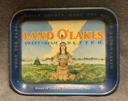 Vintage Land O Lakes Sweet Butter Indian Girl Serving Tray Discontinued Logo