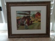Framed Ji Case Print Of A Threshing Scene With Turn Of Century Engine Tractor