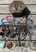 Lot Wearable Vintage Jewelry Carved Box Junk Drawer Mexico Natural Beach Boho