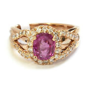 3 Ct Natural Pink Sapphire Diamond Solid 14k Rose Gold Oval Halo Engagement Ring