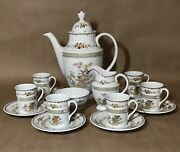 Royal Doulton Hamilton Demitasse Set 6 C/s Coffee Pot Creamer Open Sugar Bowl