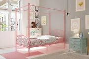 Pink Metal Four Poster Canopy Twin Bed Frame Modern Teens Bedroom Furniture New