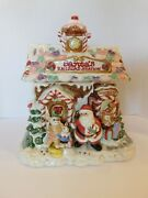 Fitz And Floyd Candy Lane Cookie Jar Gingerbread Santa's Railroad Station