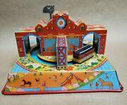 Vintage Style Tin Train Carousal At The Zoo Wind Up Toy
