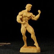 Sexy Boxwood Wood Carving Muscular Man Hand Carved Statue Collection Sculpture