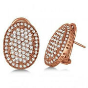 3.02ct Natural Round Diamond 14k Solid Rose Gold Anniversary Omega Back Earring
