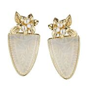 Donna Chambers Antique Mother Of Pearl Chinese Gambling Chip Earrings 14k