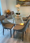 Contemporary Glass And Industrial Concrete Dining Room Table