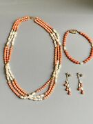 Vintage Pearl And Pink Coral Necklace Bracelet And Earrings Jewelry Set 14k