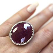 25 Ctw Natural Red No Heat Ruby Diamond Solid 14k White Gold Halo Statement Ring