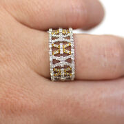 0.75 Ctw Natural Diamond Solid 14k 2-tone Gold X Crossed Tapered Band Ring 9.5mm