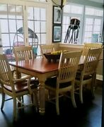 Amish Made Farm Table Dining Table And 6 Chairs Solid Cherry