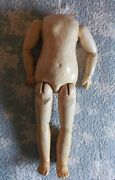 Original Big Body Of Antique Bisque French Doll, Wood And Composition. 21.6 Inch