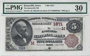 5 1882 Brown Back Knoxville Ia Fr.472 Ch1871 Pmg Vf30 National Bank Note