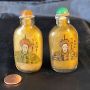Rare Older Chinese King And Queen 1930 Snuff Bottles Pair By Yan Zhong Sun